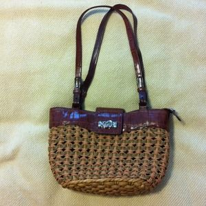 Handbags - Faux leather and woven purse