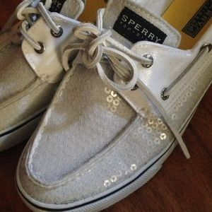 White Sequin Sperry's