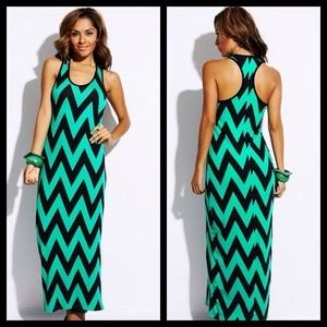 Dresses & Skirts - Mint/Black Chevron Print Maxi Dress