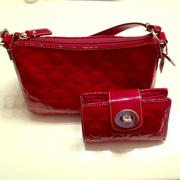 29% off Coach Handbags - Coach RED Patent Leather small purse ...