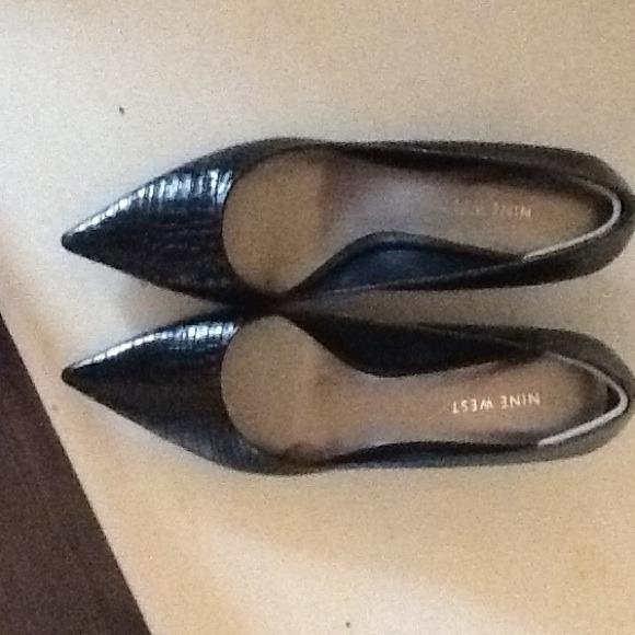 67% off Nine West Shoes - Nine West black snake skin kitten heels