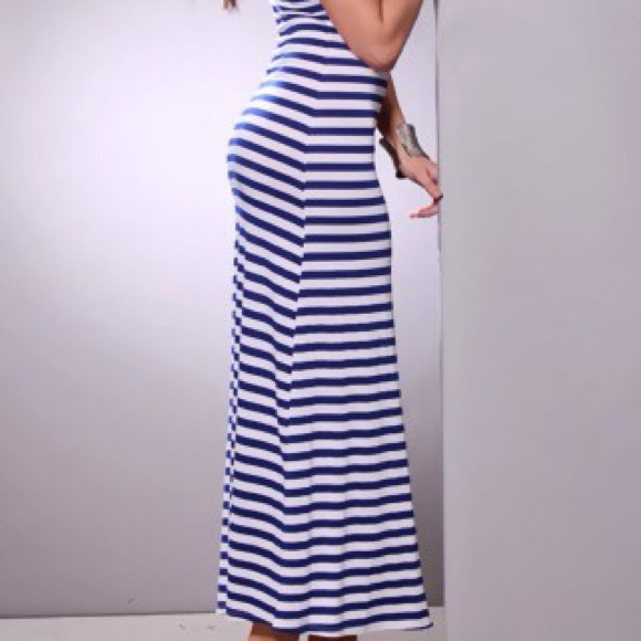 36% off Dresses & Skirts - Blue & White striped racer back lace ...