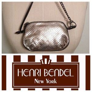 Henri Bendel gunmetal leather wristlet
