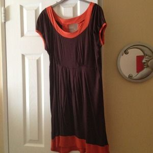 Tops - DONATED Brown tunic/dress with orange trim