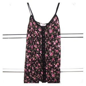 Tops - Floral Print Clasp Shirt