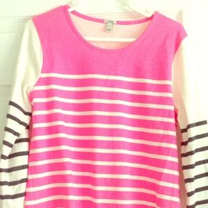 J.Crew Pink and Black Striped Top