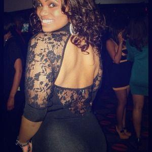 Bebe Lace Cut Out Black Dress