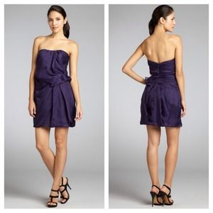 A.B.S. purple orgnanza waist dress