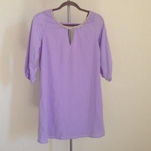 New - Lilac Beaded Neckline Shift Dress