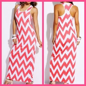 Dresses & Skirts - Coral/White Chevron Print Maxi Dress
