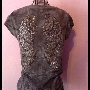 Grey angel wing rhinestone shirt