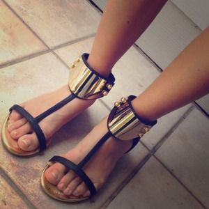 Yoki Shoes - SALE! Gold Plated Black Flat Sandals