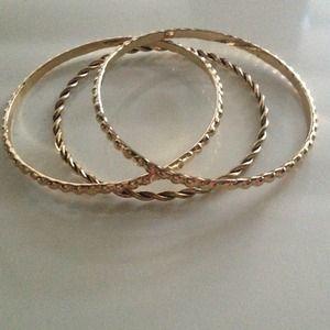 Set of 3 Gold Tone Bangles