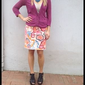 Anthropologie Skirts - Painted denim skirt 2