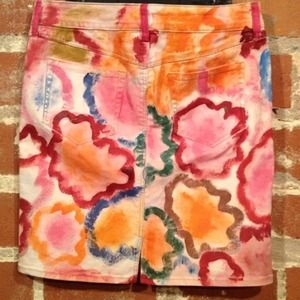 Anthropologie Skirts - Painted denim skirt 4