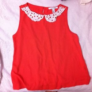 Forever 21 Tops - Collared orange top