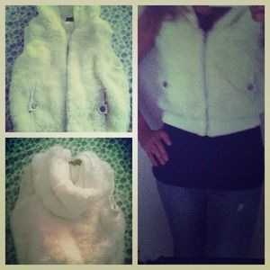 White faux fur vest with hood
