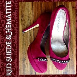 Shoedazzle Shoes - Dark Red Suede Platform Pumps