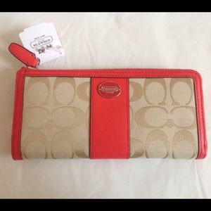 Coach Clutches & Wallets - NWT COACH WALLET SIGNATURE CORAL ZIP AROUND