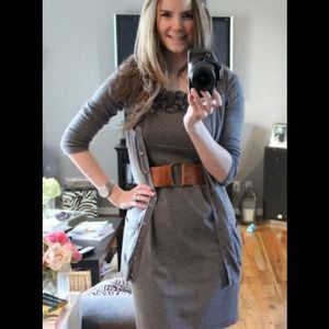 Gray dress with rosette at neckline