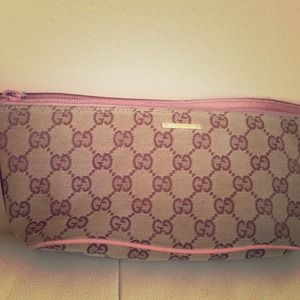 Brown and pink Gucci pouchette