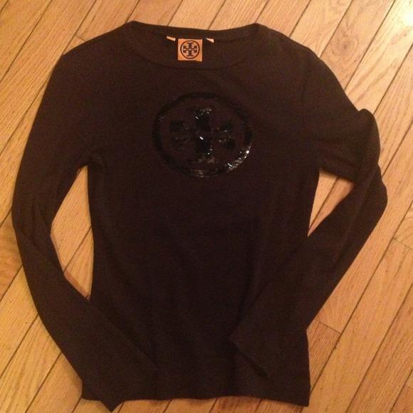 Tory burch sold on ebay black tory burch sequin logo t for Tory burch t shirt