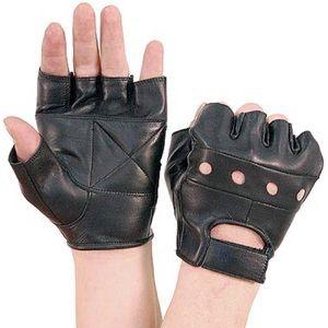 Gloves, Biker Black Leather Fingerless