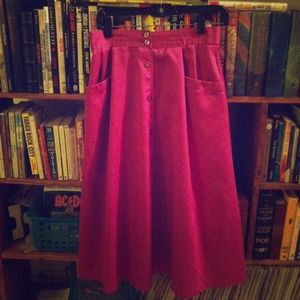 Vintage Purple Button Skirt high waist midi maxi