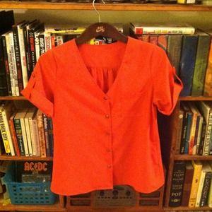 REDUCED Orange V Neck Button up with arm detail