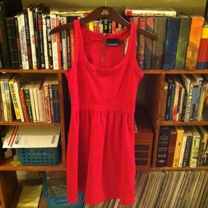 Cynthia Rowley Red Exposed Zipper Dress Pockets