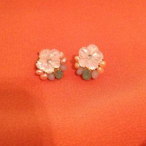 Anthropologie Flower and Pearl Earrings