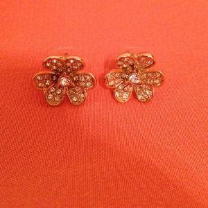Anthropologie Gold Flower Earrings