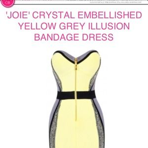 Celebboutique  Dresses & Skirts - JOIE' CRYSTAL  YELLOW GREY ILLUSION BANDAGE DRESS