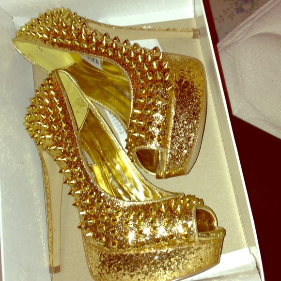 45% off Steve Madden Shoes - Steve Madden gold spiked heels from ...