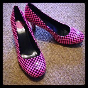 t.u.k. Pink/Black Checkered Pinup Heels