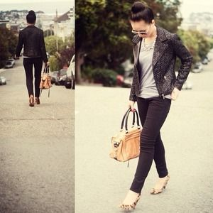 Zara Jackets & Blazers - BUNDLE: Zara Moto Jacket & Ann Taylor Top