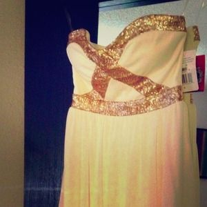 Tops - White/Gold High-Low Dress