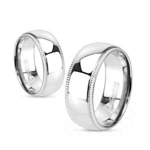 Jewelry - Titanium mirror polished band with grooved edge 11