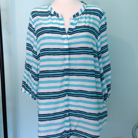 Old Navy Tops - Teal and navy striped blouse