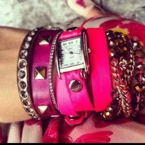 La Mer neon pink/silver wrap watch