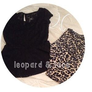 Lace peplum top & leopard legging bundle