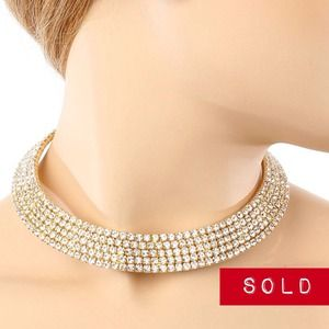 Gold Rhinestoned Necklace