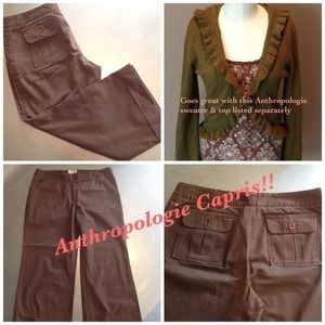 Anthropologie brown Capris
