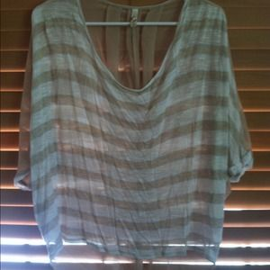 Tops - High-low chiffon striped top