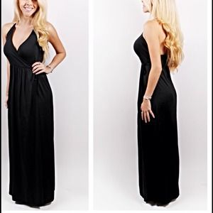 Faux Wrap Black Maxi Dress