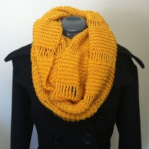 Oversized Knit Yellow Cowl Scarf