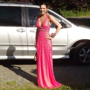 Pink beaded prom dress size 4