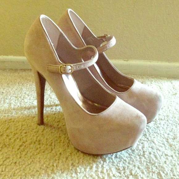 38% off Shoemint Shoes - Mary Jane Blush Nude Suede Pumps from ...