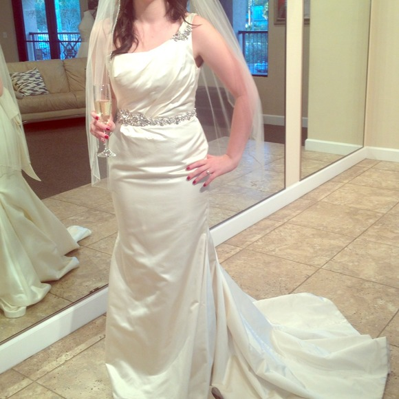 MARISA bridal Dresses | Wedding Gown Ivory One Shoulder Nwt | Poshmark