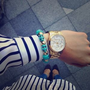 Jewelry - Turquoise and Gold Skull Bracelet
